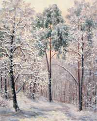 Winter in the forest. Painting